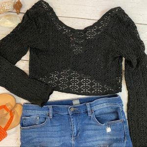 Free People Beach Crop Top Navy Crocheted  Small